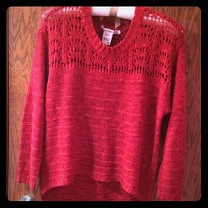 AMERICAN RAG RED 3/4 SLEEVE SWEATER - MEDIUM